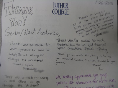 thank you notes from Luther College